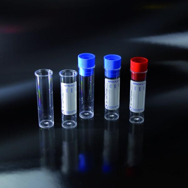 Kunststoffröhre Standb., m. Rand, PS, 5ml, steril, m. Etikett & Stopfen