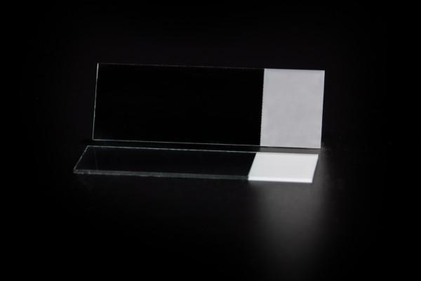 Objektträger, halbweiß, roh, geschnittene Kanten, 20mm Mattrand, 90° Ecken