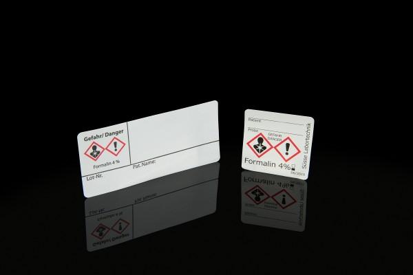 Süssse Haftetikett mit Gefahrensymbol und Formalin Aufdruck