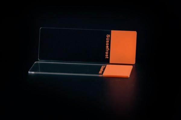 Objektträger, Mattrand orange, 45° Ecken, geschliffene Kanten
