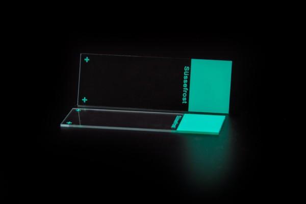 Objektträger, Mattrand grün, 90° Ecken, geschliffene Kanten