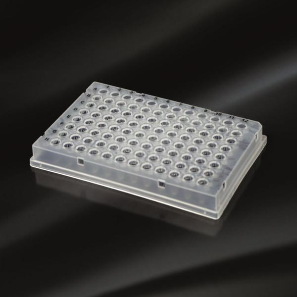 350 µl PCR-Sockelplatte mit seitlichem Rand, 96 Well, Low-Profile