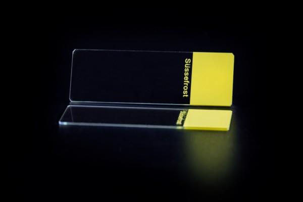 Objektträger, Mattrand gelb, 45° Ecken, geschliffene Kanten