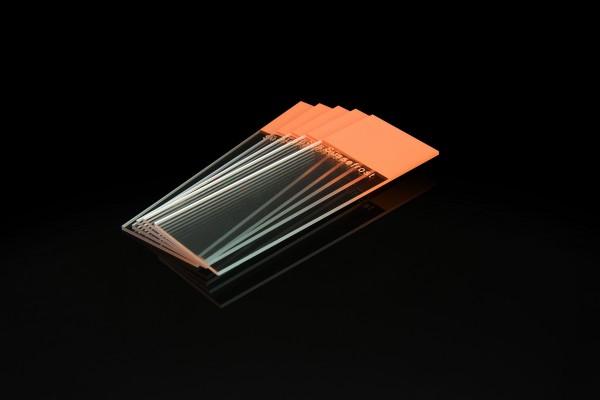 Objektträger, Mattrand orange, 90° Ecken, geschliffene Kanten
