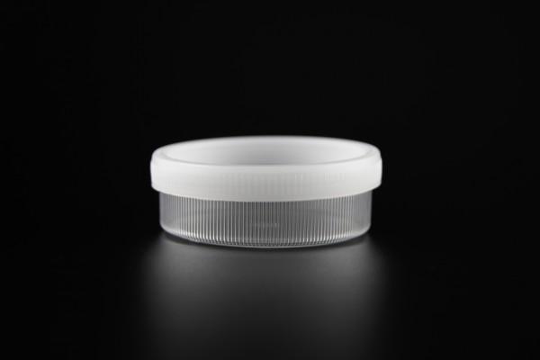 Versandgefäß + Sputumdose(#43841), 24ml flache Form, mit Saugeinlage
