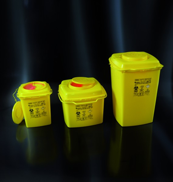 Multibox für med. Abfälle, eckig mit Henkel, 3 Liter