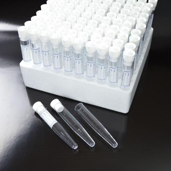Urin-Röhre, Automat geeignet, PS, 10ml im Rack, mit Etikett & Stopfen